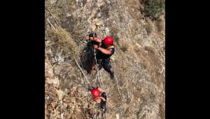 Dağda mahsur kalan 3 keçiyi itfaiye kurtardı